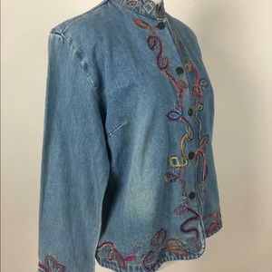 Chico's Denim Jacket Size 0 Small 4 Emroideried
